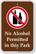 No Alcohol Permitted In This Park Sign