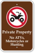 Private Property No Atvs, Motorcycles Or Hunting Sign