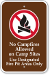 No Campfires Allowed On Camp Sites Campground Sign
