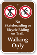 No Skateboarding or Bicycle Riding Campground Sign