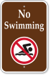 No Swimming with Graphic Campground Sign