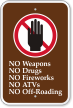 No Weapons, Drugs, Fireworks, ATVs, Off-Roading Sign