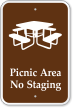 Picnic Area No Staging Sign