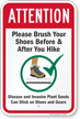 Please Brush Your Shoes Before and After You Hike Sign