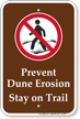 Prevent Dune Erosion Stay On Trail Campground Sign