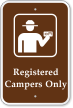 Registered Campers Only Campground Sign with Graphic