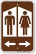 Restroom Sign With Man Woman Graphic And Arrow