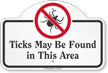 Ticks May Be Found In This Area Dome Top Sign