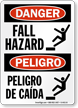 Fall Hazard, Peligro De Caidas Bilingual Sign