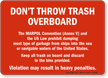 Don't Throw Trash Overboard, MARPOL Convention (Annex-V) Placard