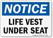 Life Vest Under Seat Sign