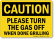 OSHA Caution Grill Rules Sign