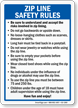 Zip Line Safety Rules Sign