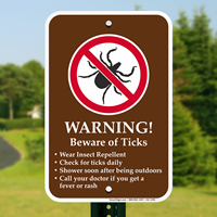 Warning, Beware of Ticks Campground Sign