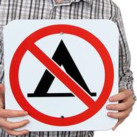 No Camping Tent Symbol Signs