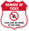 Beware Of Ticks Shield Sign